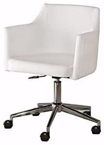 Ashley Furniture Signature Design - Baraga Adjustable Swivel Office Desk Chair - Casters - Contemporary - White/Chrome