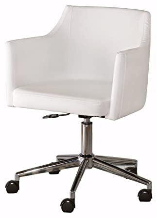 Ashley Furniture Signature Design – Baraga Adjustable Swivel Office Desk Chair – Casters – Contemporary – White Chrome