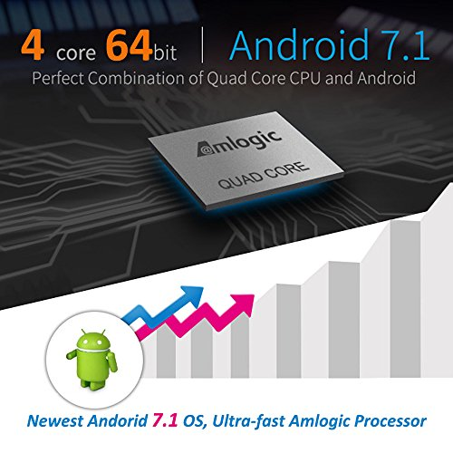 AuviPal 2018 High Configuration X10 Google Android 7.1 TV Box Under $50 with 2GB RAM 16GB ROM Amlogic 64 Bits Quad Core A53 Processor Support 3D 4K H.265 Bluetooth 4.0 - Black