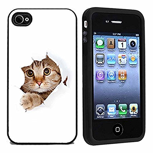 Cute Cat Tearing Paper Case / Cover For - Cat Iphone 4 Case