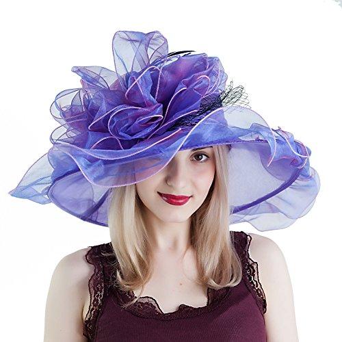 Seven Flowers Tea Party Hats for Women Kentucky Derby Hats for Derby Dress Church Wedding Party Hats (12-Purple)