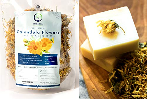 1lb - Dried Whole Organic Calendula Flowers - Bulk 1lb Package for Tea, Natural Face wash, Calendula Soap