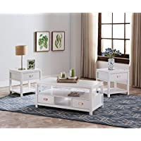 Kings Brand Furniture Willard 3 Piece White Finish Wood Storage Occasional Table Set, Coffee Table & 2 End Tables