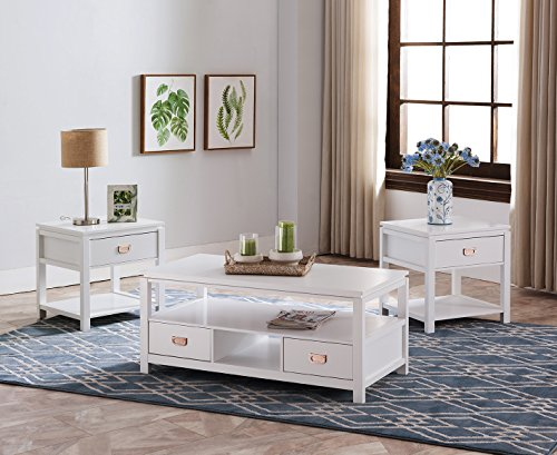 - Kings Brand Furniture Willard 3 Piece White Finish Wood Storage Occasional Table Set, Coffee Table & 2 End Tables