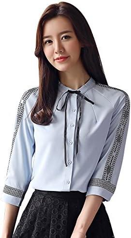 XXIN Camisetas De Manga Corta Mujer Camiseta Pequeña 7 Mini Pajarita con Una Camisa Azul,S,: Amazon.es: Deportes y aire libre