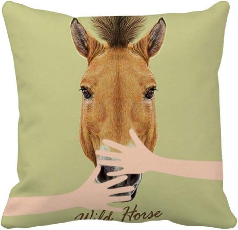 Funda de almohada cuadrada con diseño de caballo salvaje, color marrón