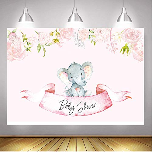 Qian 7x5FT Vinyl Pink Theme Elephant Photography Backdrops Baby Shower Girl Princess Birthday Party Decoration Photo Background Studio Props -