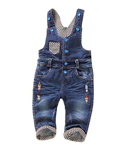 Kidscool Baby Boys/girls Plaid Lining Cardigan Denim Overalls