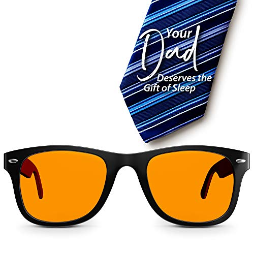 Swannies Perfect Father's Day Gift - Blue Light Blocking Computer Glasses with Orange Lens for Night Use - UV Protection Anti Eye Strain Tired Eye Relief - Henley Style ()