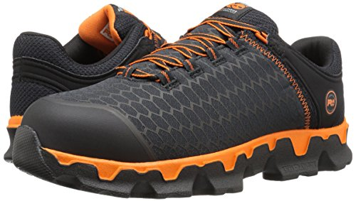 Timberland PRO Men's Powertrain Sport Alloy Toe EH Industrial & Construction Shoe, Black Synthetic/Orange, 7 M US