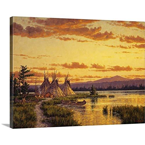 (Randy Van Beek Premium Thick-Wrap Canvas Wall Art Print Entitled Northern Blackfoot Hunters Camp 40