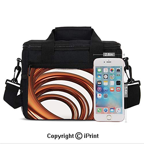 Copper Helix Coil Curved Spiral Pipe Swirled Shape on White Backdrop Decorative Print Lunch Bag Portable Insulated Lunch Boxes with Zipper and Pocket,Orange and ()
