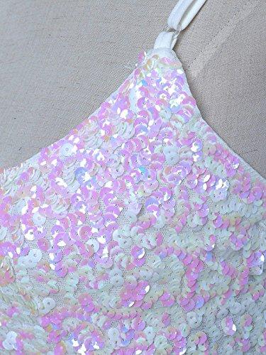 Glow decorazione lustrini Top Kaci canottiera Anna Glitter donna Bianco e Scintilla XwYx0