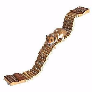 UEETEK Pet Ladder Bridge Hamster Parrot Bird Standing Ladder Hanging Wood Bridge Hamster Blending Climbing Swing Toy Chewing Toy 7cm x 55cm