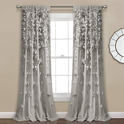 "Lush Decor Light Gray Riley Curtain Sheer Ruffled Textured Bow Window Panel for Living, Dining Room, Bedroom (Single) 84"" x 54 L"