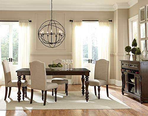 FurnitureMaxx Jacob Brown Birch Veneers Wood Dining Set with Table, 6 Side Upholstered Chairs and Sideboard -