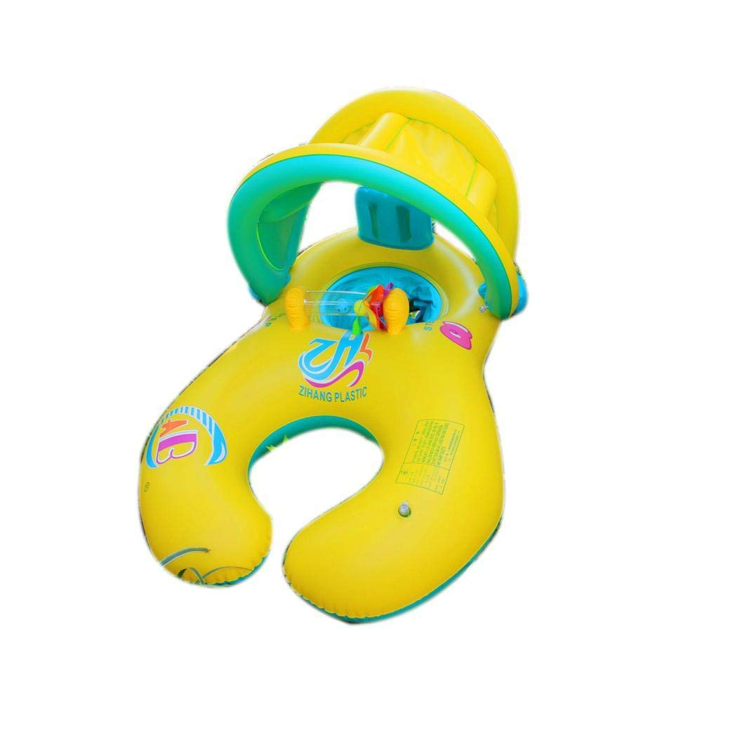 Queind Mom Kids Swimming Inflatable Ring with Sunshade Cover Pool Inflatable Circle Baby Floats