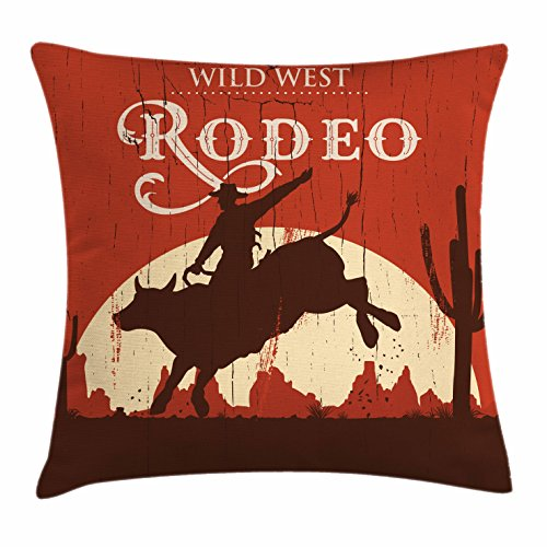 Vintage Throw Pillow Cushion Cover by Ambesonne, Rodeo Cowboy Riding Bull Wooden Old Sign Western Wilderness at Sunset Image, Decorative Square Accent Pillow Case, 18 X 18 Inches, Redwood Orange