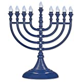 Traditional LED Electric Blue Hanukkah Menorah With Crystals - Battery or USB Powered - Includes a Micro USB 4' Charging Cable