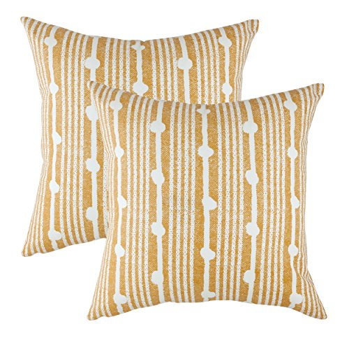 TreeWool Decorative Square Throw Pillow Covers Set Spots Accent 100% Cotton Cushion Cases Pillowcases (20 x 20 Inches / 50 x 50 cm; Mustard in Cream Background) - Pack of 2