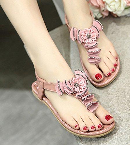 Minetom Mujer Verano Casual Bohemia Abalorios Diamantes De Imitación Sandalias Chanclas Dulce Flores Zapatos Piso Planos Rosa
