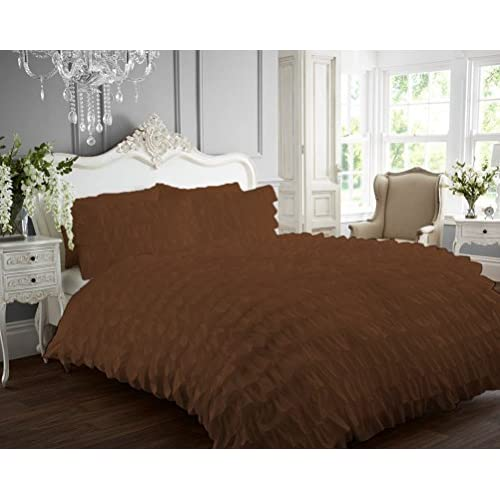 Cheap Kotton Culture 1000 Thread Count Luxurious 100% Egyptian Cotton Ruffle Duvet Cover (Ruffle Duvet Cover with Zipper Closure) Solid By (Chocolate, King) for cheap