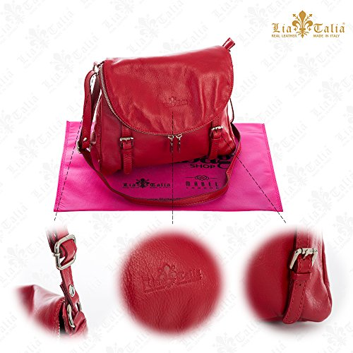 Handbag Red Stella Leather Cross Body Italian Soft Genuine Tuscan Effect Medium Buckle Shoulder LiaTalia nxOAwZFHqP