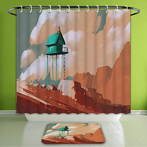 (Waterproof Shower Curtain and Bath Rug Set Fantasy Art House Decor Little Wood House On Stone Hill with Boy On The Cloudy Roof Artprint Ta Bath Curtain and Doormat Suit for Bathroom 60