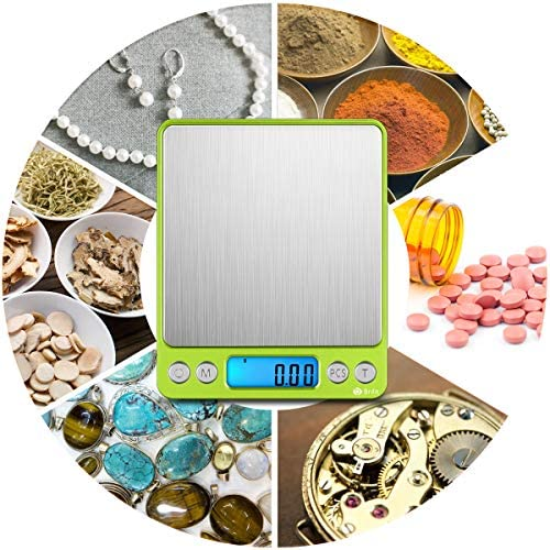 (Upgradaed) Brifit Digital Kitchen Scale, 500g-0.01g Mini Pocket Jewelry Scale, Cooking Food Scale with Backlit LCD Display, 2 Trays, 6 Units, Auto Off, Tare, Stainless Steel (Battery Included) 6