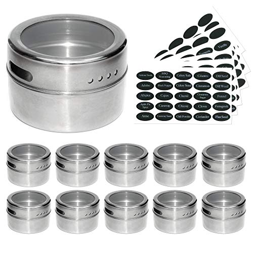 12 Magnetic Spice Jars & 2 Type Of Spice Labels by Uplifebrothers - For Fridge, Grill & More - Stainless Steel Round Containers for Condiments and Craft Stuff. Clear Lid, Sift and Pour