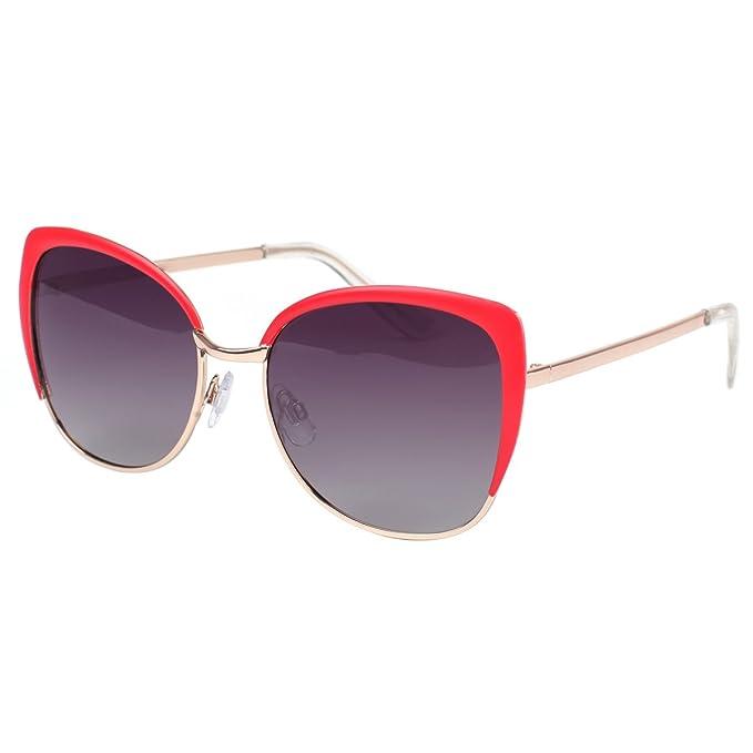 Cat Eye vivienfang parcialmente sin montura gafas de sol mujer polarizadas 86447 - Gafas de sol Oversized Red Frame Smoke lens: Amazon.es: Ropa y accesorios