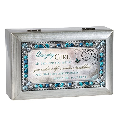Cottage Garden Amazing Girl Jeweled Silver Finish Jewelry Music Box - Plays Tune You Light Up My Life ()