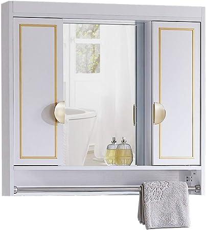 Muebles de baño Armarios de Pared Mueble De Espejo De Baño Espejo Oculto Diseño De Puerta Corredera con Toallero Estilo Ligero Armarios (Color : Blanco, Size : 80 * 14 * 70cm): Amazon.es: Hogar