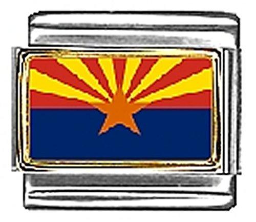 State of Arizona Photo Flag Italian Charm Bracelet Jewelry Link