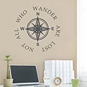 BATTOO Compass Wall Decal - Not All Who Wander Are Lost - Compass Rose Beach Decal - Beach Decor - Travel Decor(22  h x22 w, navy blue)