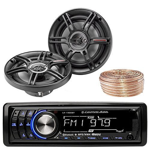 Lightning Audio By Rockford Fosgate LA1500BT MP3 Bluetooth Stereo Receiver Player Bundle Combo With 2x Crunch CS653 6.5-Inch 3-Way Black Coaxial Speakers + Enrock 50 Foot 18 Gauge Speaker Wire