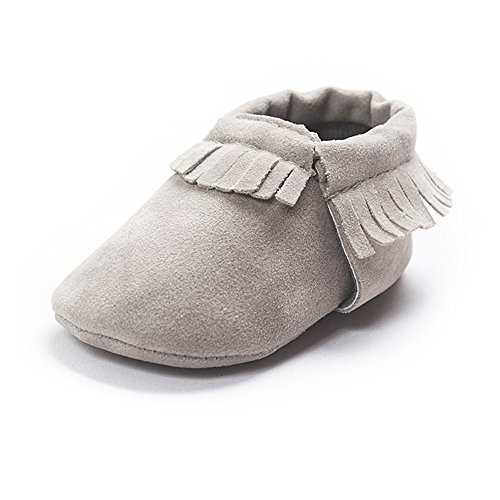 Slip Moccasins (Kuner Baby Boys Girls Tassel Soft Soled Non-slip Crib Shoes Moccasins First Walkers (12cm(6-12months), Gray))