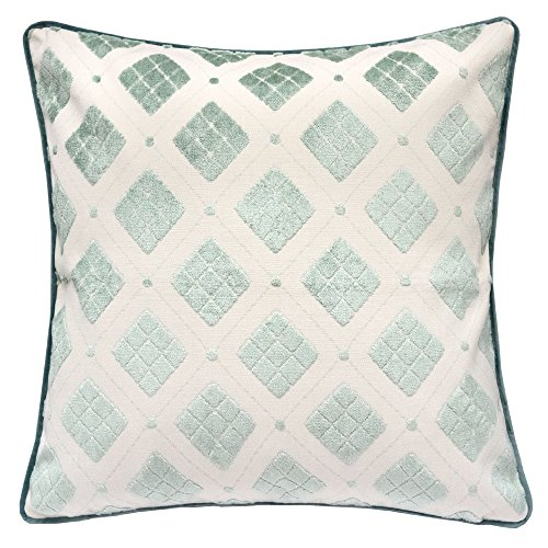 (Homey Cozy Jacquard Throw Pillow Cover,Argyle Diamond Tapestry Spa Green Velvet Large Sofa Couch Pillow Sham,20x20 Cover Only)