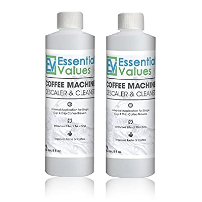 Essential Values Universal Descaling Solution (2 Pack, 4 Uses Total), Designed For Keurig, Nespresso, Delonghi and All Single Use Coffee and Espresso Machines - Proudly Made In USA
