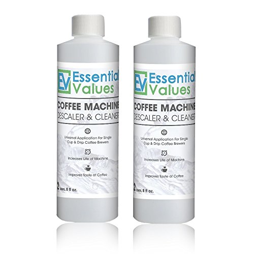 - Essential Values Universal Descaling Solution (2 Pack, 4 Uses Total), Designed For Keurig, Nespresso, Delonghi and All Single Use Coffee and Espresso Machines - Proudly Made In USA