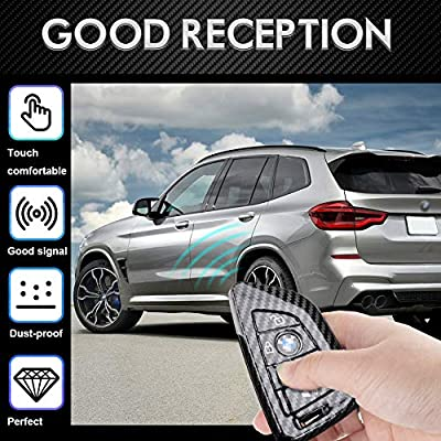 DOHON Key Fob Cover for BMW X1 X2 X3 X5 X6 2 5 6 7 Series, Protective Carbon Fiber Keyless Entry Smart Remote Key Case Holder 4 Buttons, 2Pcs: Automotive