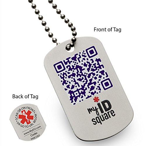Night Sky Squid Medical Alert ID Dog Tag using QR code - No engraving necessary