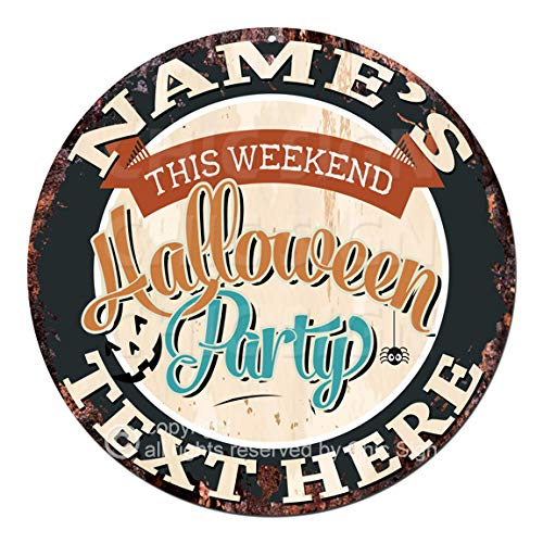 Any Name's Any Text This Weekend Halloween Party Custom Personalized Chic Tin Sign Rustic Shabby Vintage Style Retro Kitchen Bar Pub Coffee Shop Man cave Decor Gift Ideas]()