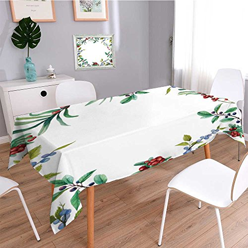 Printed Fabric Tablecloth,watercolor wild berries frame hand drawn floral card design with natural elements cranberry,Heavyweight Wrinkle-Free Stain Resistant (Berry Floral Wallpaper)
