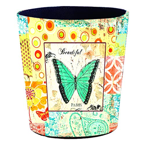 (Lingxuinfo European Style Retro Leather Trash Can Trash Bin Waste Paper Basket Wastebasket Garbage Can Without Lid, 9.87.910.9 inches (Peacock Blue Butterfly) )