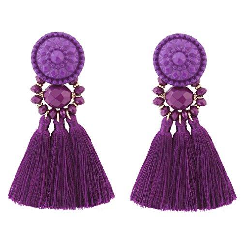 Purple Womens Earring - Boderier Bohemian Statement Thread Tassel Chandelier Drop Dangle Earrings with Cassandra Button Stud (Purple)