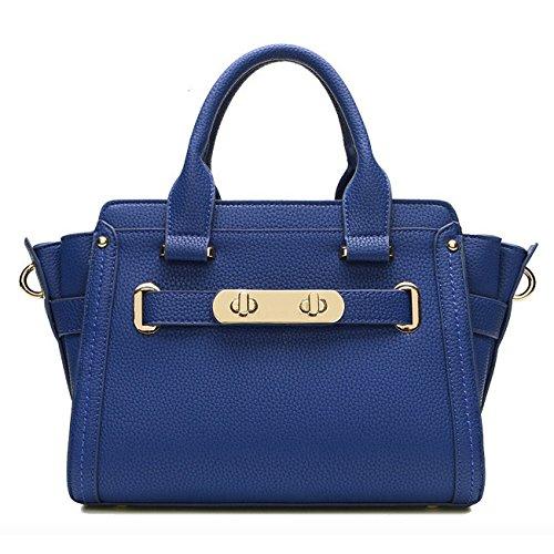 Las Ladies Handle Top Bag Cuero Mujeres Blue Genuino Totes Bolsos Oficina Messenger De Hombro Satchel Portátil 0tvz8WA