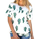 Outsta Womens Summer Cool Sleeveless Off Shoulder Pineapple Cactus Print Dress Tops Shirts Blouse (Cactus Top, L)