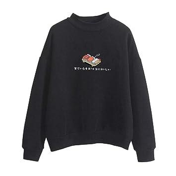 Qiuxiaoaa Kapuzenpullover, Damen Winter Hoodies, Candy Farbe Cartoon Kawaii Sushi japanische Print Sweatshirt, verdicken Fleece Harajuku Pullover lose