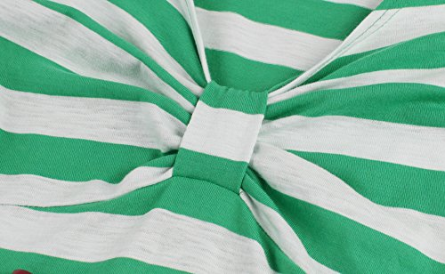 Dress Green Swing Stripes Belt Women's Patterned Sleeve with V Short Wellwits Neck q8Sa1